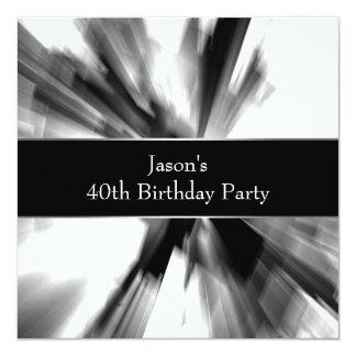 Black Abstract Skyscraper Mans 40th Birthday Card