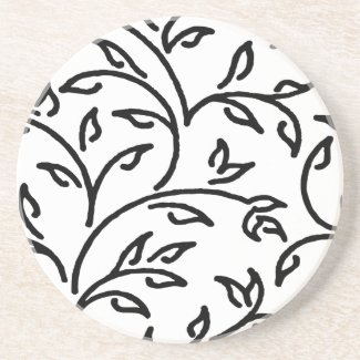 Black Abstract Vines | Any Color Background Sandstone Coaster