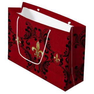 Black Acanthus on Red Large Gift Bag