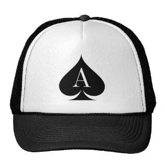 Black ace of spades poker player trucker hat