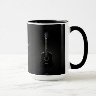 Black Acoustic Guitar Customizable Mug