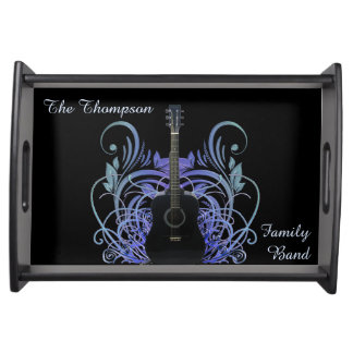 Black Acoustic Guitar Fancy Music Serving Tray