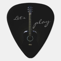 Black Acoustic Guitar Personalized Guitar Pick