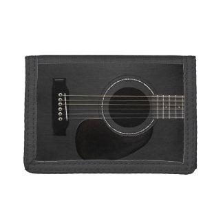 Black Acoustic Guitar Tri-fold Wallets