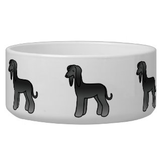 Black Afghan Hound Cartoon Dog Bowl