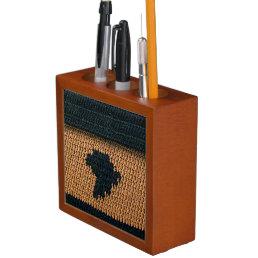 Black Africa Map Brown Texture Crochet Wood Desk Organizer