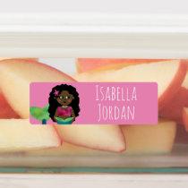 Black African American Mermaid Waterproof School Kids' Labels