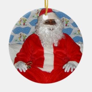 Black African American Santa Claus Ornament