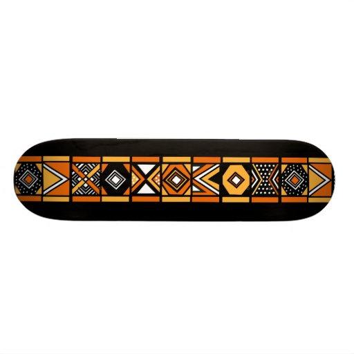 Black African art pattern skateboard