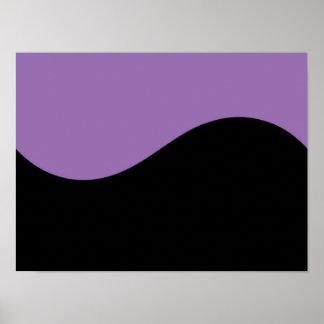 Black & African Violet Purple Modern Curves Blank Poster