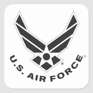 Black Air Force Logo & Name with Outline Square Sticker