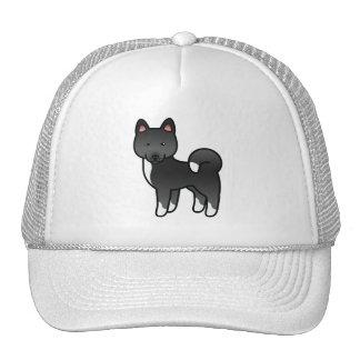 Black Akita Cartoon Dog Illustration Trucker Hat