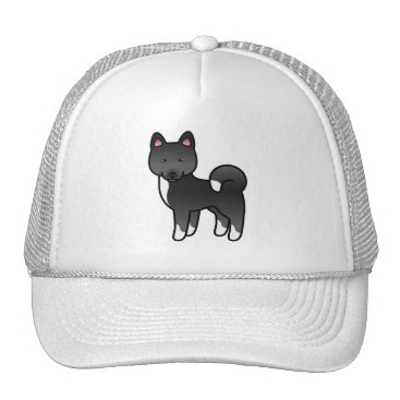 destei Black Akita Cartoon Dog Illustration Trucker Hat