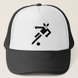 black alien soccer icon trucker hat