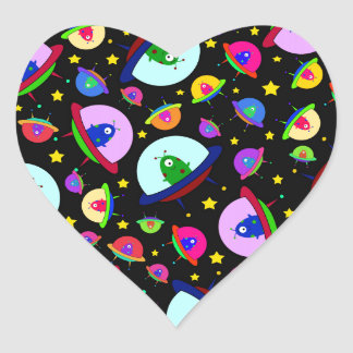 Black alien spaceships heart stickers