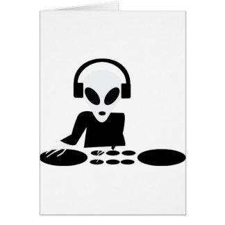 black alien turn tables dj icon greeting card