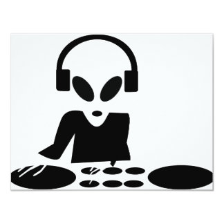 black alien turn tables dj icon card