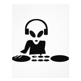 black alien turn tables dj icon flyer