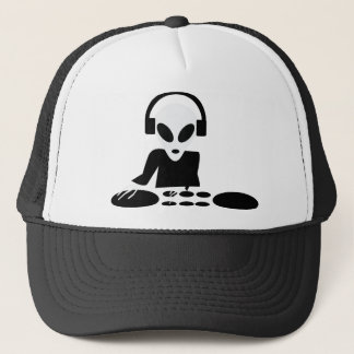 black alien turn tables dj icon trucker hat