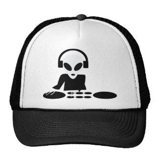 black alien turn tables dj icon trucker hat