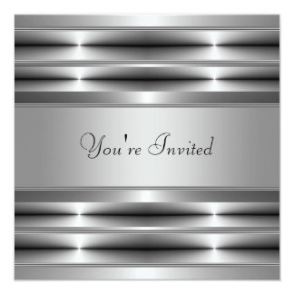 """Black All Occasion Party 5.25"""" Square Invitation Card"""