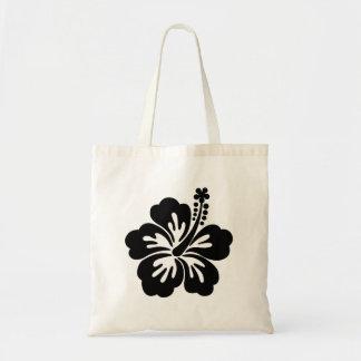 Black aloha flower tote bags