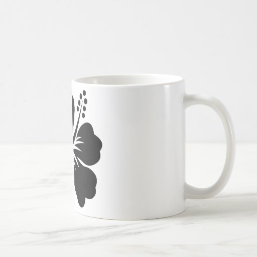 Black aloha flower coffee mugs