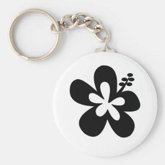 Black aloha flower keychain