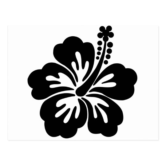Black aloha flower postcard