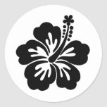 Black aloha flower round stickers