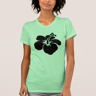 Black aloha flower tee shirt