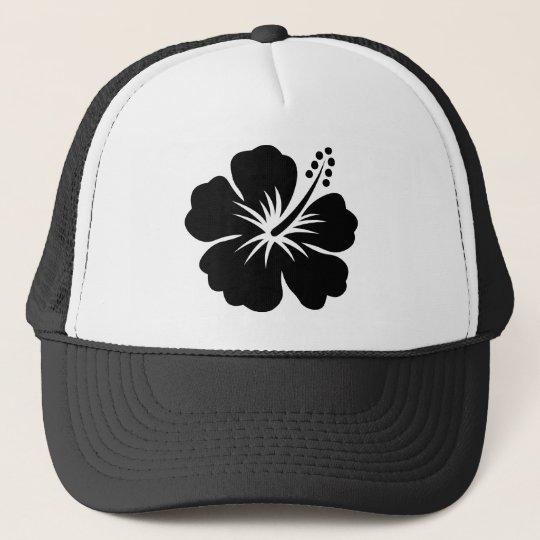 Black aloha flower trucker hat