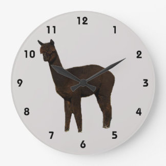 Black Alpaca Cria Large Clock