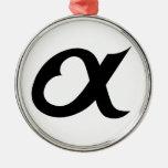 black alpheart round metal christmas ornament