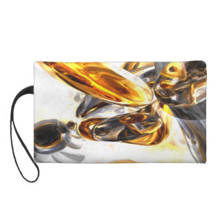 Black Amber Painted Abstract Wristlet Purse