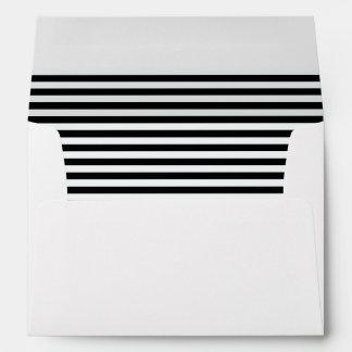 Black amd White Stripe lined envelope with Rose