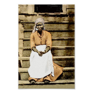 Black America Vintage Woman on Porch with Cigar Poster