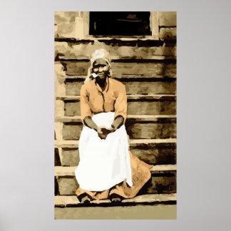 Black America Woman on Porch Vintage Postcard Poster