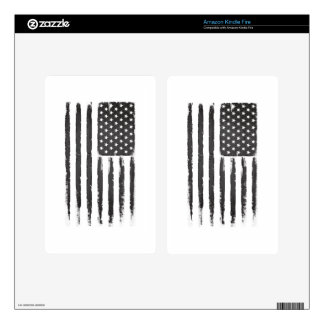 Black American flag Grunge Purge style Decals For Kindle Fire