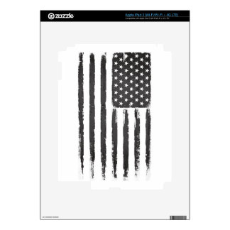 Black American flag Grunge Purge style iPad 3 Decals
