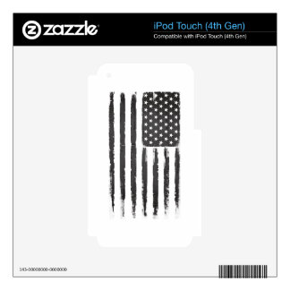 Black American flag Grunge Purge style Skins For iPod Touch 4G
