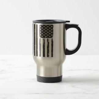 Black American flag Grunge Purge style Travel Mug