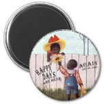 Black Americana Obama Happy Days are Here Again 2 Inch Round Magnet