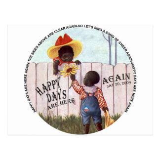 Black Americana Obama Happy Days are Here Again Postcard