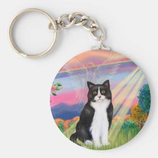 Black & White Cat - Cloud Angel Basic Round Button Keychain