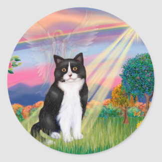 Black & White Cat - Cloud Angel Classic Round Sticker