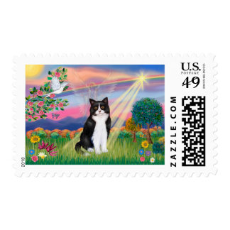 Black & White Cat - Cloud Angel Stamp