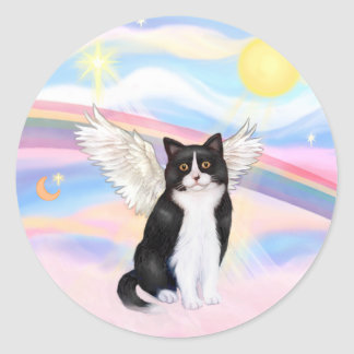 Black & White Cat - Clouds Classic Round Sticker
