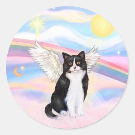 Black & White Cat - Clouds Classic Round Sticker