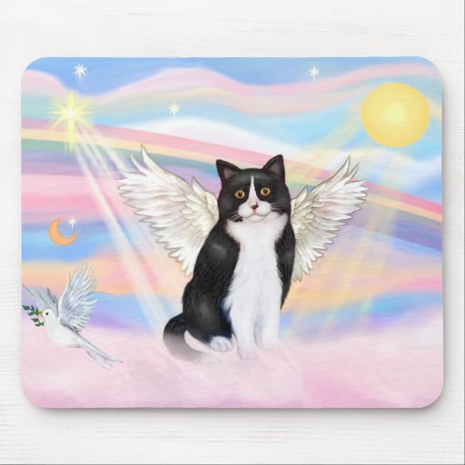 Black & White Cat - Clouds Mouse Mats